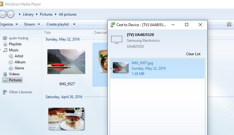 chuyển hình từ laptop lên tivi qua DLNA