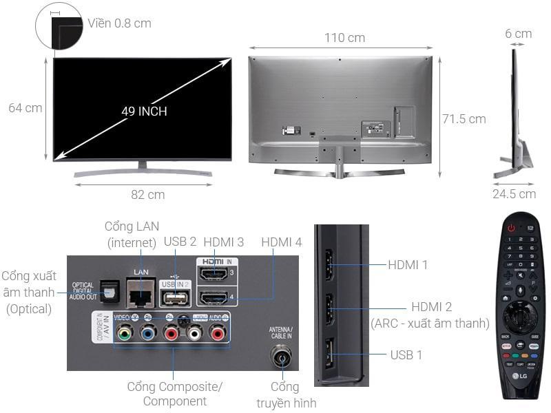 Smart Tivi LG 4K 49 inch 49SK8000PTA