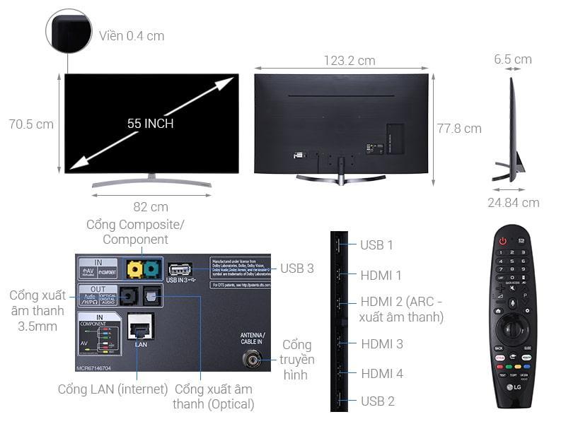 chi tiết các bộ phận của Tivi LG 55SK8500PTA