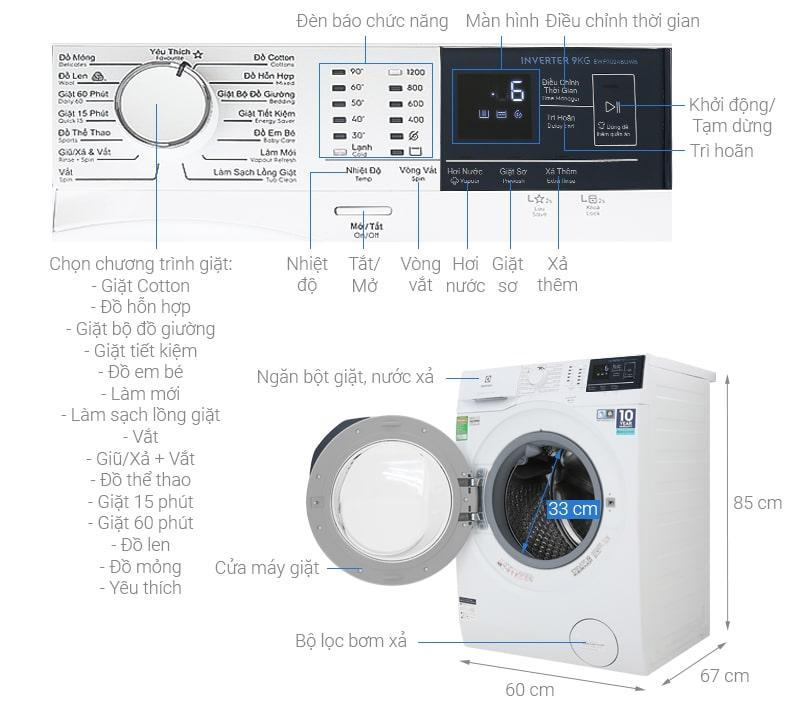 Máy giặt Electrolux 9kg EWF9024BDWB
