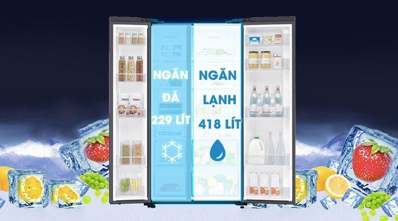 Tủ lạnh Samsung RS62R5001B4/SV dung tích lớn thích hợp cho 5 người dùng