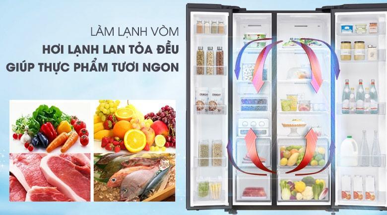 công nghệ làm lạnh vòm cho hơi lạnh lan tỏa đều giúp thực phẩm tươi ngon