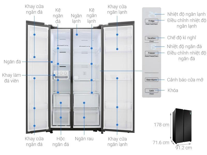 chi tiết Tủ lạnh Samsung RS62R5001B4/SV