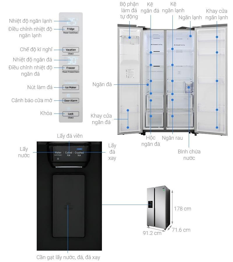 chi tiết Tủ lạnh Samsung RS64R5101SL/SV