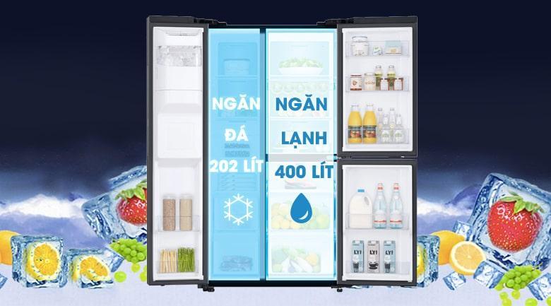 Tủ lạnh Samsung RS65R5691B4/SV dung tích phù hợp với 5 người