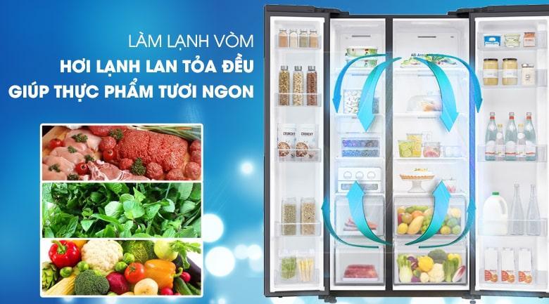 công nghệ làm lạnh vòm cho hơi lạnh lan tỏa đều giúp thực phẩm tươi ngon hơn