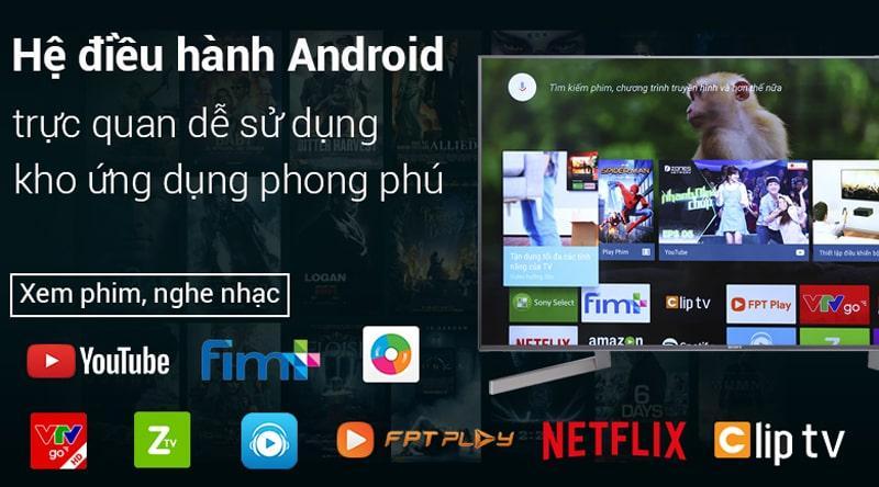 hệ điều hành android đơn giản trên Tivi Sony KD-65X9000F