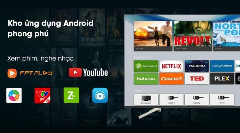Tivi Sony KD-55X8500G/S kho ứng dụng phong phú