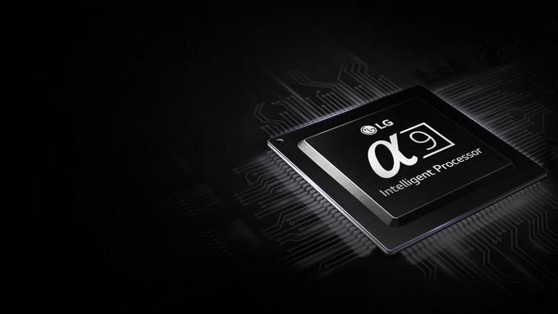 chip alpha 9 với tốc độ xử lí mạnh mẽ trên Tivi OLED LG 65E8PTA