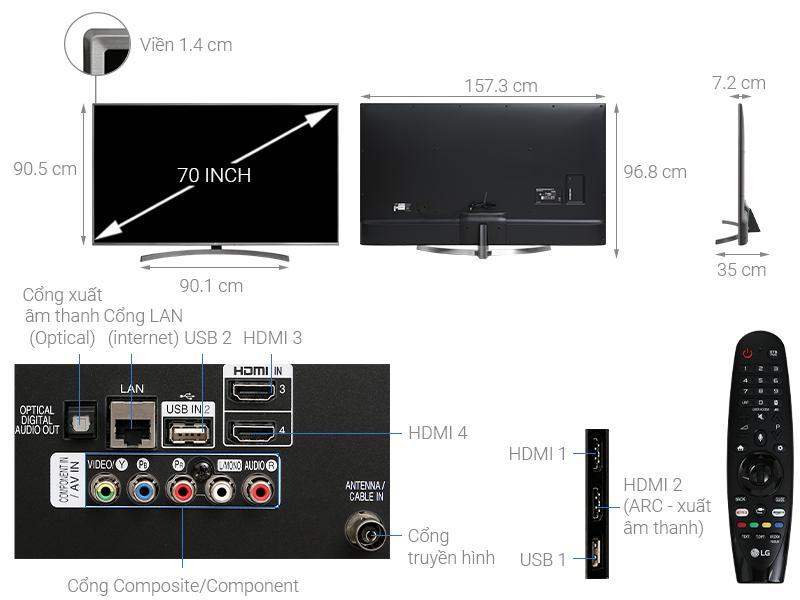 tổng quan của tivi LG 70UK6540PTA