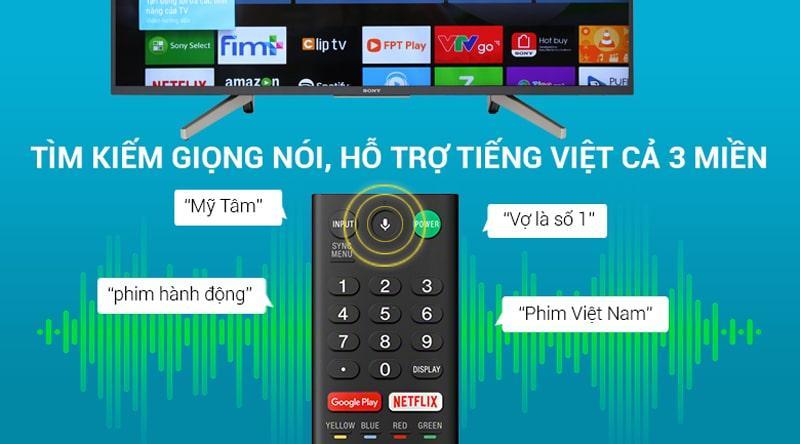 Tivi Sony KD-65X7500F tìm kiếm giọng nói