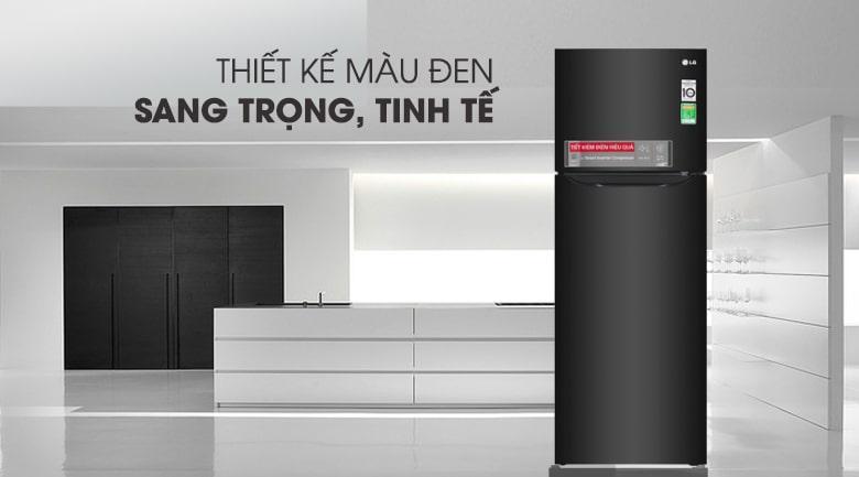 thiết kế màu đen sang trọng của Tủ lạnh LG GN-M208BL