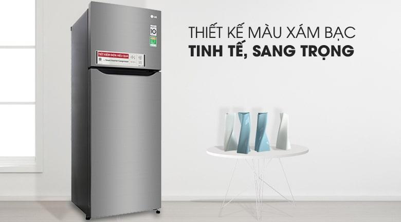 Tủ lạnh LG GN-M208PS có thiết kế màu xám bạc.tinh tế,sang trọng