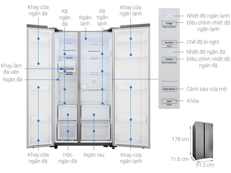 chi tiết Tủ lạnh Samsung RS62R5001M9/SV