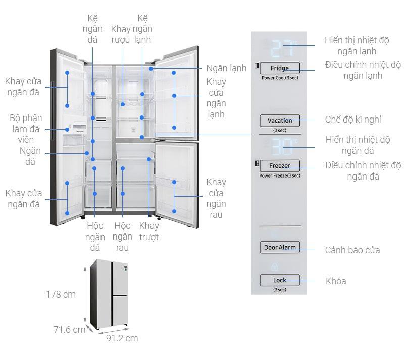 Các bộ phận chi tiết Tủ lạnh Samsung RS63R5571SL/SV