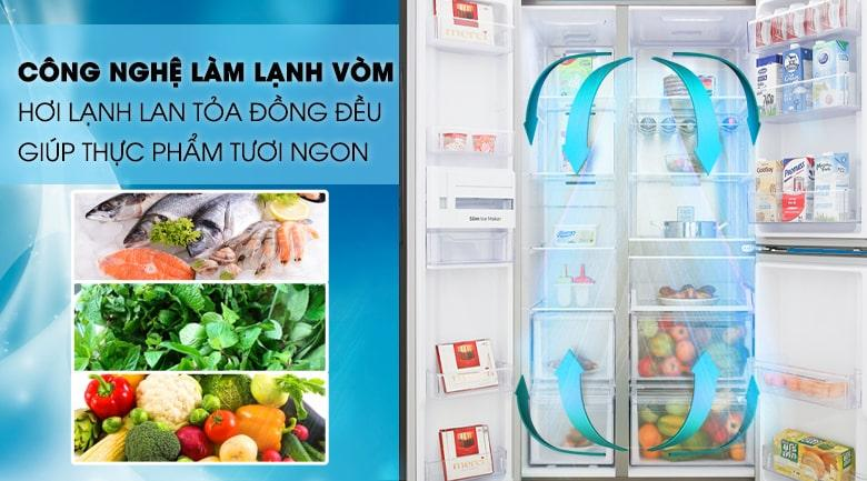công nghệ làm lạnh vòm cho hơi lạnh lan tỏa đồng đều giúp thực phẩm tươi ngon hơn