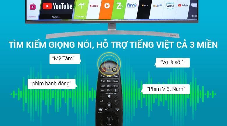 Tivi OLED LG 65E8PTA tìm kiếm giọng nói bằng tiếng việt