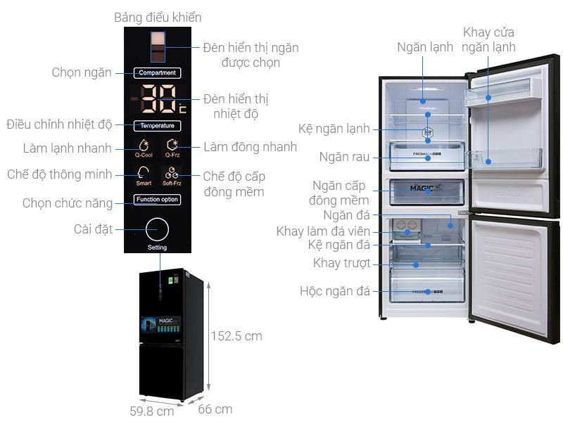 các bộ phận chi tiết của Tủ lạnh Aqua AQR-I298EB BS