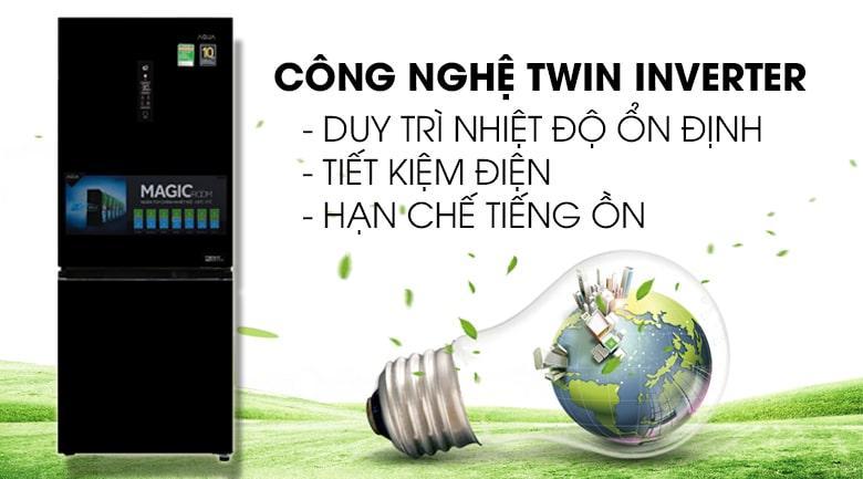 công nghệ TWIN INVERTER duy trì nhiệt độ ổn định,tiết kiệm điện,hạn chế tiếng ồn