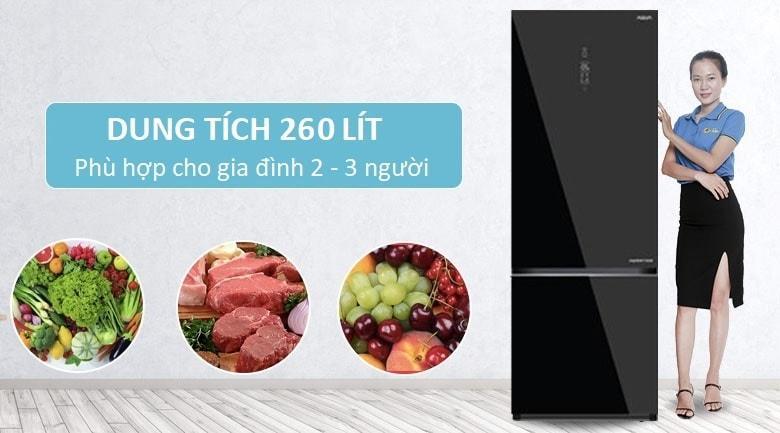 Tủ lạnh Aqua AQR-IG298EB GB có dung tích 260 lít phù hợp với gia đình 2-3 người