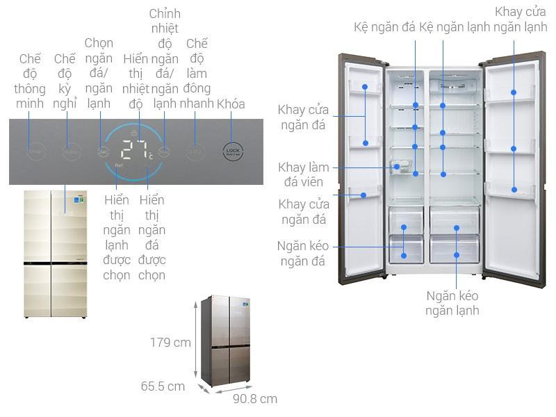 Tủ lạnh Aqua Inverter 518 lít AQR-IG585AS SG
