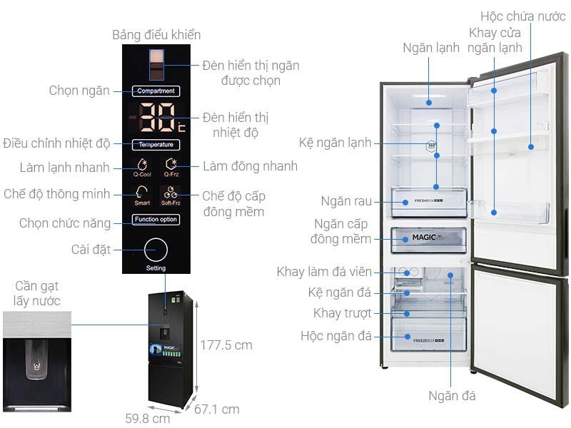 các bộ phận chi tiết Tủ lạnh Aqua AQR-IW378EB BS
