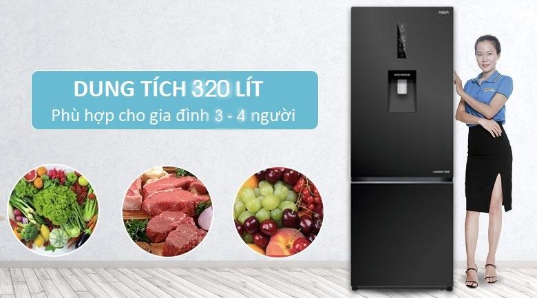 Tủ lạnh Aqua AQR-IW378EB BS dung tích 320 lít