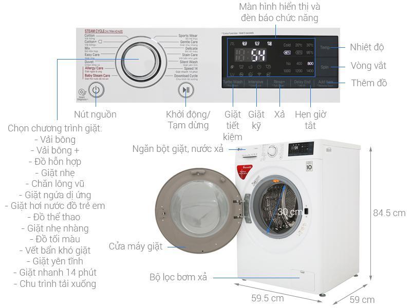 Máy giặt LG Inverter 9 kg FC1409S3W1