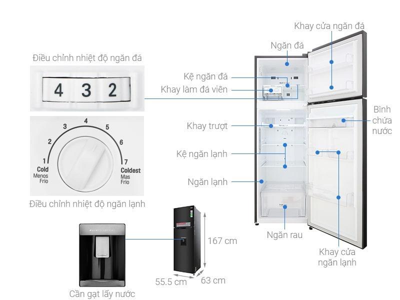 các bộ phận chi tiết của Tủ lạnh LG GN-D255BL