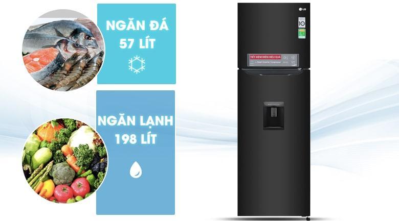 Tủ lạnh LG GN-D255BL có dung tích cho 2-3 người sử dụng