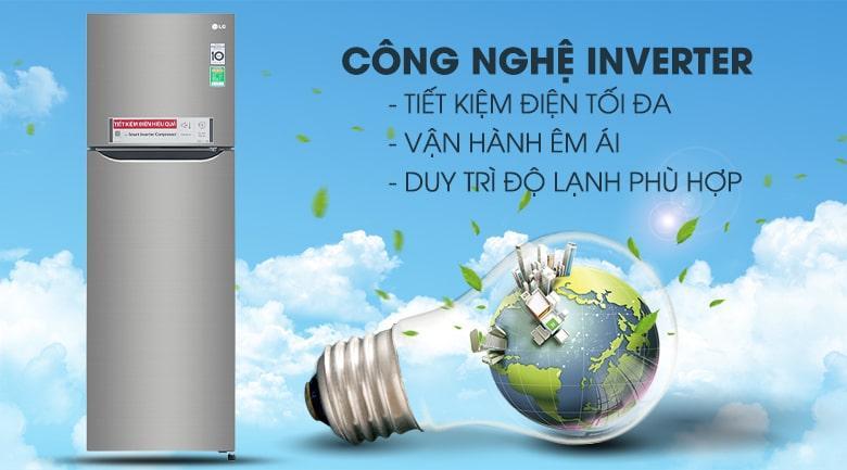 Công nghệ Inverter tiết kiệm điện tối đa cho Tủ lạnh LG GN-M255PS