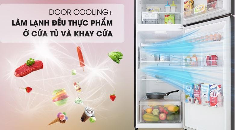 công nghệ DOOR COOLING+ làm lạnh đều thực phẩm ở cửa tủ và khay cửa