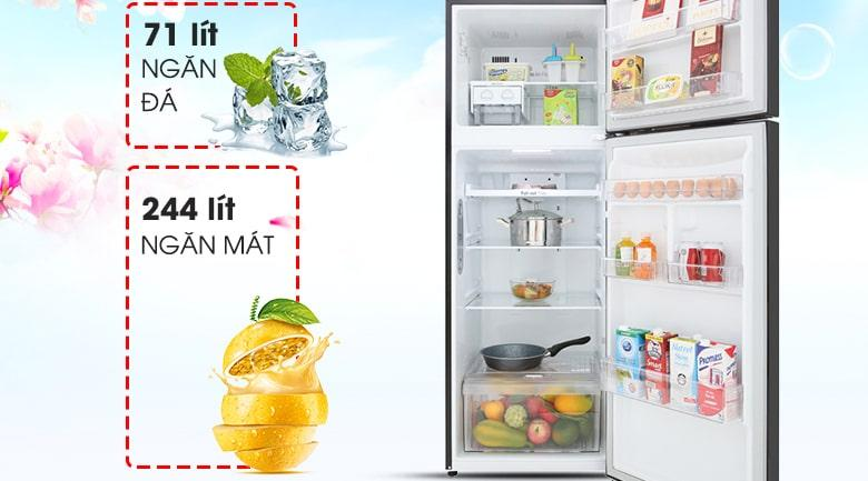 Tủ lạnh LG GN-M315BL có dung tích thích hợp với 3-4 người sử dụng