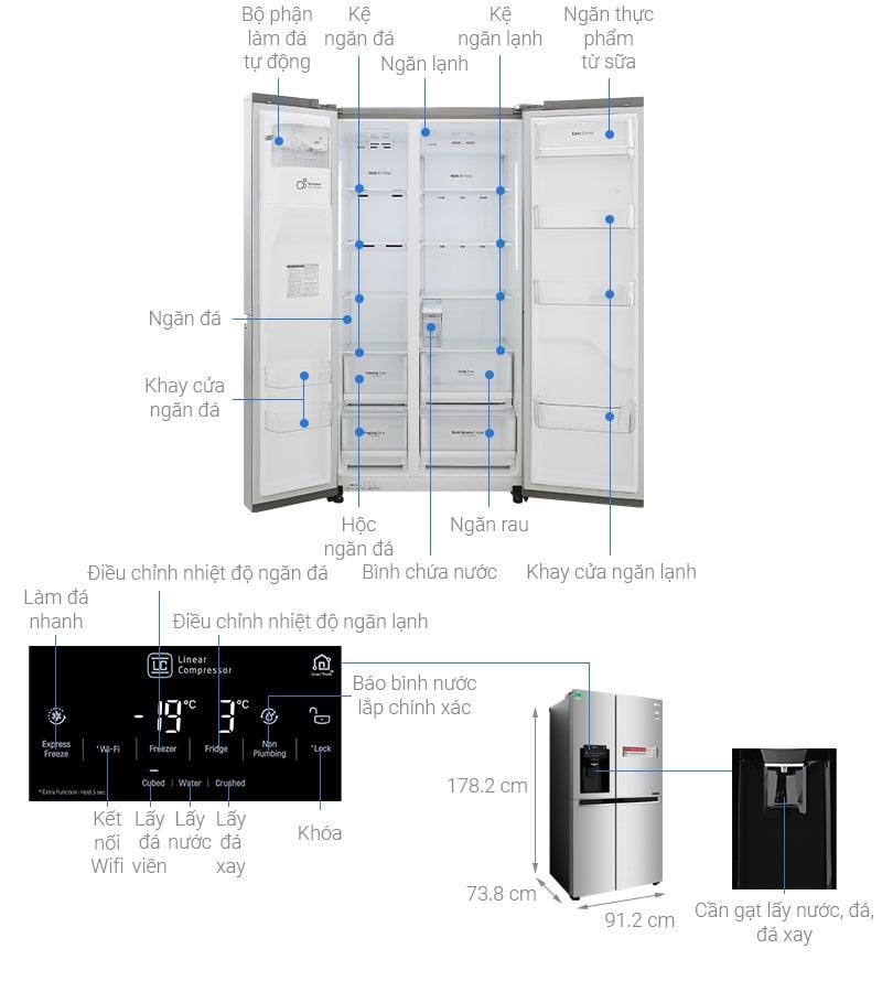 các bộ phận chi tiết của Tủ lạnh LG GR-D247JDS