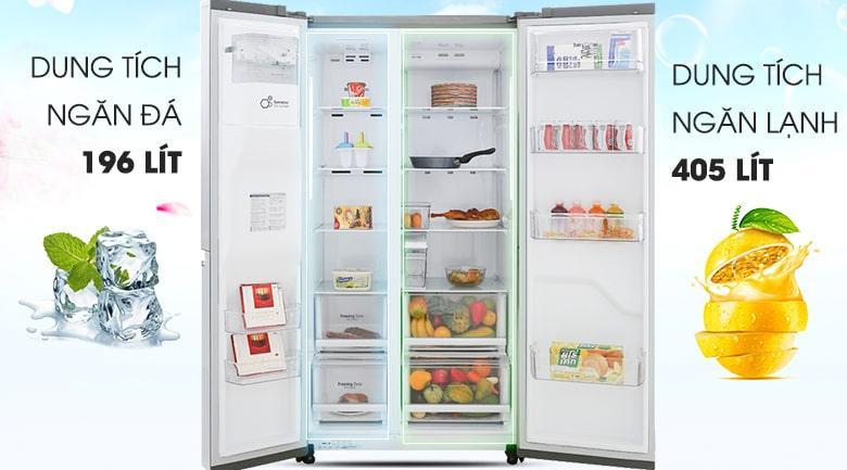 Tủ lạnh LG GR-D247JDS co dung tích cho gia đình trên 5 thành viên