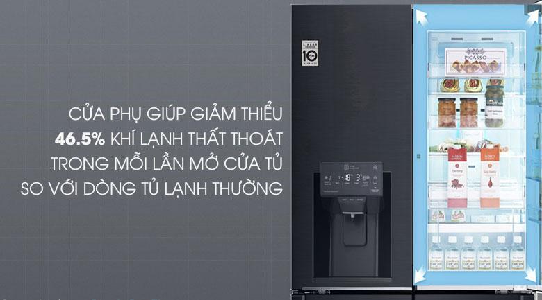 Tủ lạnh LG InstaView Door-in-Door GR-X247MC thiết kế cửa phụ giảm thiếu khí lạnh thất thoát