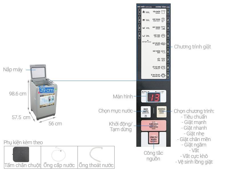 Máy giặt Aqua 9Kg AQW-S90CT H2