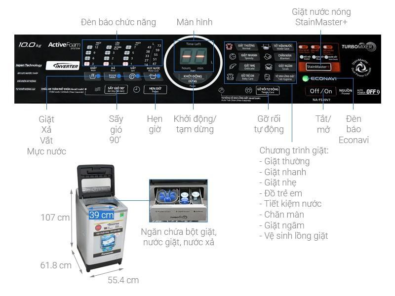 Máy giặt Panasonic 10Kg NA-FS10V7LRV