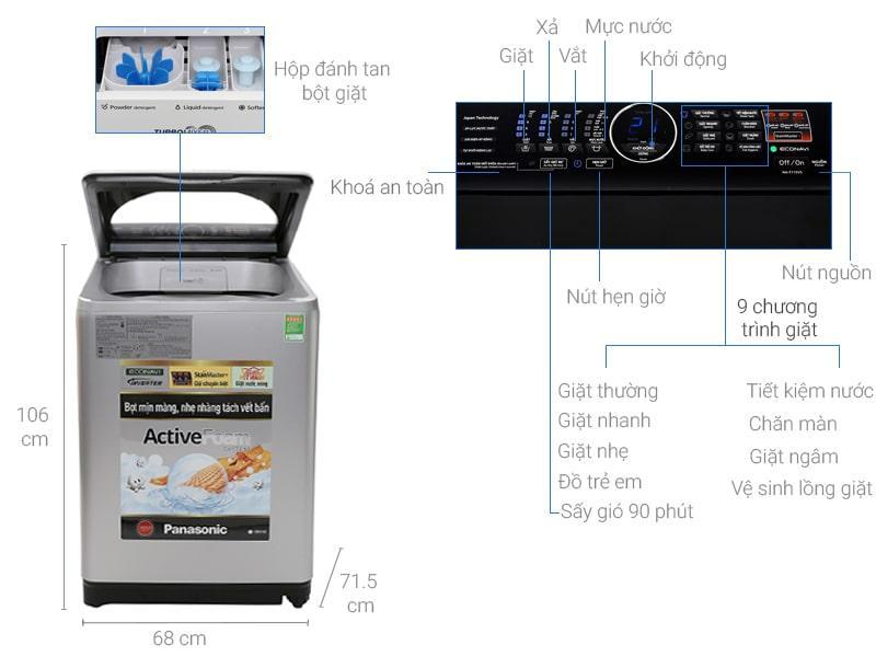 Máy giặt Panasonic 11.5kg NA-F115V5LRV