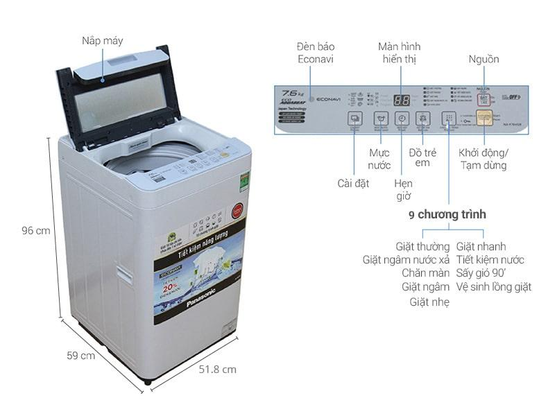 Máy giặt Panasonic 7.6kg NA-F76VG9HRV
