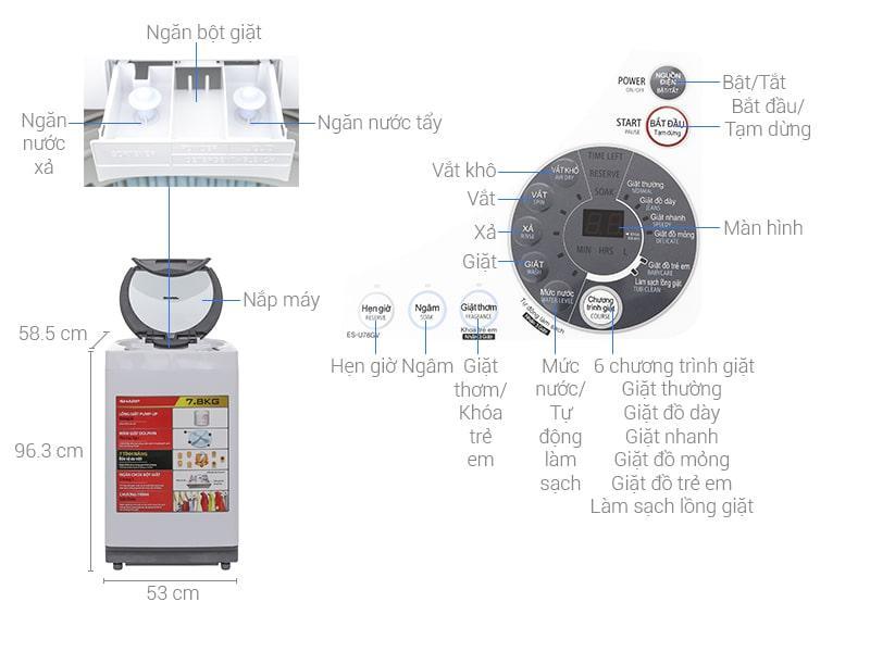 Máy giặt Sharp 7.8 kg ES-U78GV-H