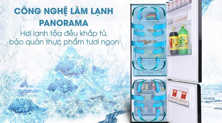 công nghệ làm lạnh PANORAMA mang hơi lạnh tỏa đều trong tủ