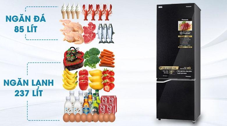 Tủ lạnh Panasonic NR-BC360QKVN dung tích sử dụng 322 lít