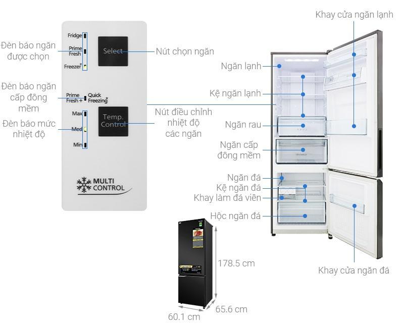 các bộ phận của Tủ lạnh Panasonic NR-BC360QKVN
