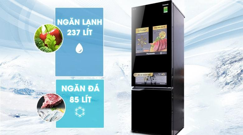 Tủ lạnh Panasonic NR-BC369QKV2 có ngăn đá dưới tiện lợi