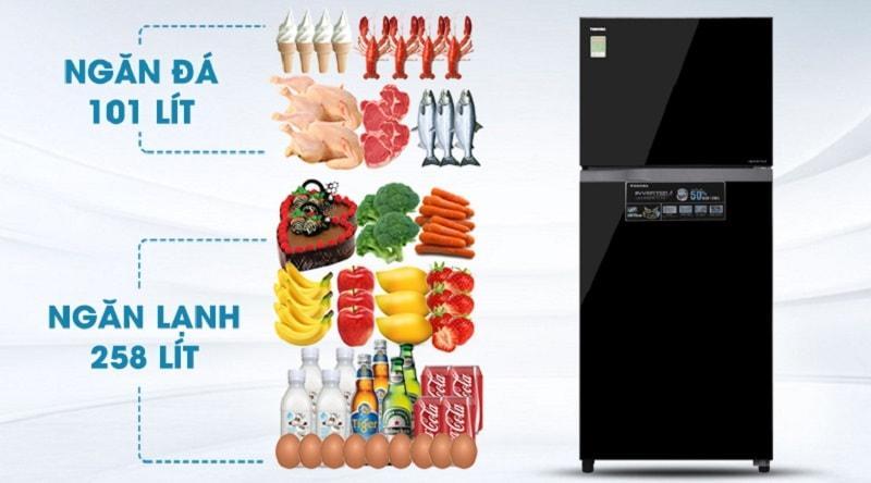 Tủ lạnh Toshiba GR-AG41VPDZ XK1 bảo quản thực phẩm với dung tích 359lit