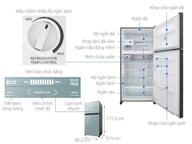các bộ phận chi tiết của Tủ lạnh Toshiba GR-AG58VA (X)