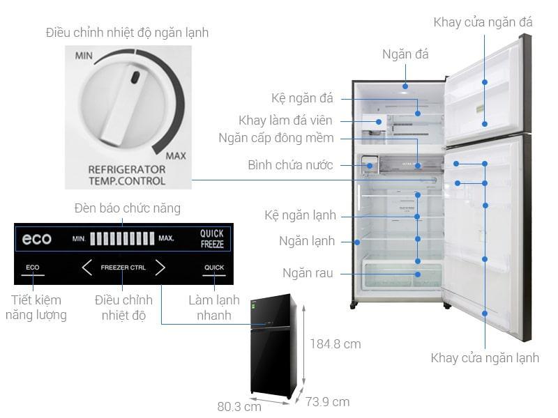 Các bộ phận cơ bản Tủ lạnh Toshiba GR-AG66VA (XK)