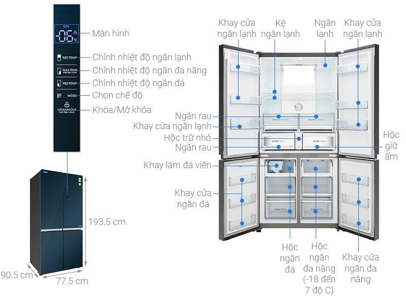 Tủ lạnh Toshiba GR-RF646WE-PGV(24) các bộ phận chi tiết