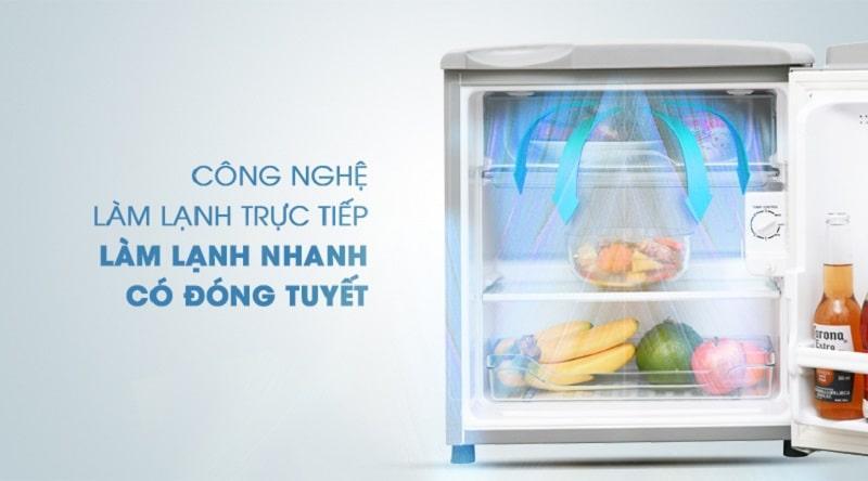 Tủ lạnh Aqua AQR-55ER (SS) sử dụng công nghệ làm lạnh trực tiếp